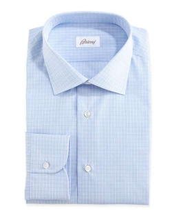 Brioni	  - Grid-Check Dress Shirt