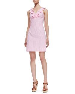 Lilly Pulitzer  - Phoebe Ruffle-Neck Seersucker Sheath Dress