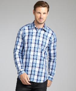 ETRO  - Blue Plaid And Paisley Cotton Button Front Shirt