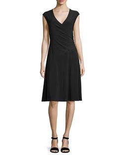 Nic+Zoe - Cap-Sleeve Faux-Wrap Dress