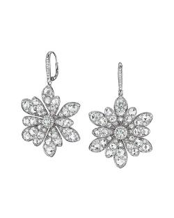 Maria Canale for Forevermark  - 18k White Gold Round and Rose-Cut Diamond Flower Drop Earrings