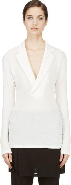 Yohji Yamamoto  - Ivory Tailored Collar Blouse