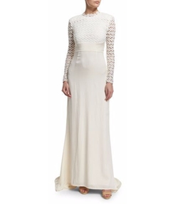 Self-Portrait - Eva Long-Sleeve Open-Back Combo Gown