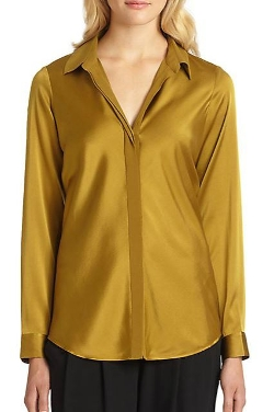 Eileen Fisher - Stretch-Silk Split-Collar Blouse