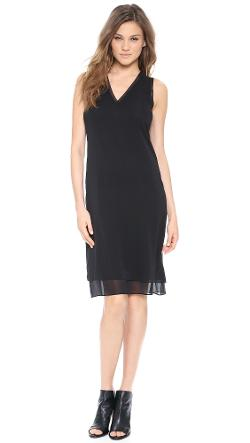 Vince Rib  - Trim V Neck Dress