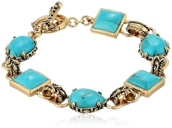 Barse - Bronze And Turquoise Toggle Bracelet