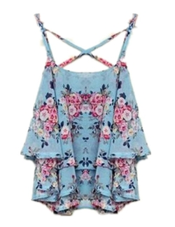 Other - Women Spaghetti Strap Floral Print Shirt Chiffon Vest Top