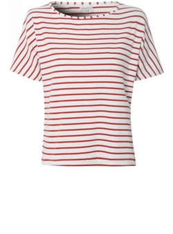 Glamorous - White And Red Striped T-Shirt