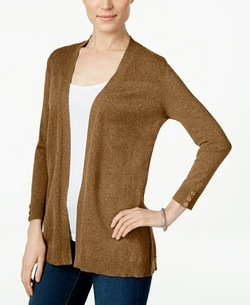 Karen Scott - Long-Sleeve Open-Front Cardigan