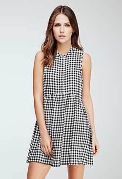 Forever21 - Shirred Gingham Button-Front Dress