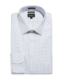 Neiman Marcus  - Trim-Fit Non-Iron Dashed Check Dress Shirt