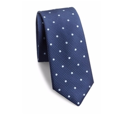 611 Saks Fifth Avenue New York  - Textured Polka-Dot Silk Tie
