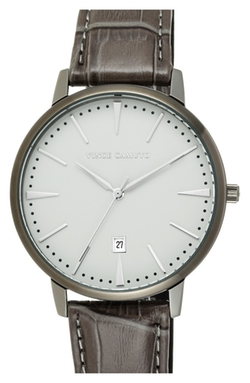 Vince Camuto - Round Leather Strap Watch