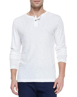 THEORY - Long-Sleeve Two-Button Henley Shirt