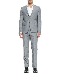 Versace  - Trend-Fit Two-Button Suit, Charcoal Heather