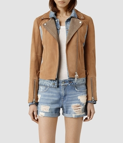 All Saints - Suede Frame Biker Jacket