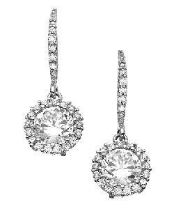 Genevive By CZC  - Euro Round CZ Drop Earrings