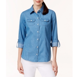 Charter Club  - Button-Down Roll-Tab-Sleeve Denim Shirt