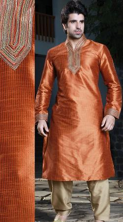 Indiabazaar - Reddish Orange Men Salwar Kurta