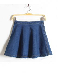 Cloclothing - High waist denim thick and disorderly Skirt