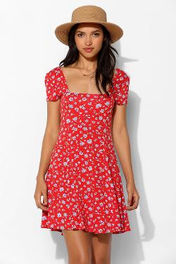 Urban Outfitters - Kimchi Blue Charlene Square-Neck Fit + Flare Dress