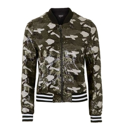 Topshop - Camouflage Inspired Sequin Bomber Jacket