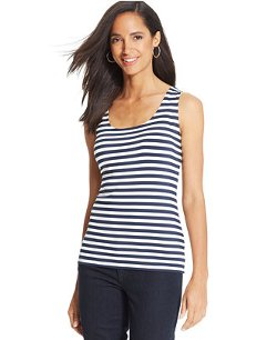 Charter Club  - Striped Scoop-Neck Tank Top