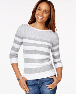 Karen Scott - Striped Cable-Knit Sweater