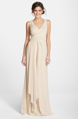Monique Lhuillier Bridesmaids  - Sleeveless V-Neck Chiffon Gown