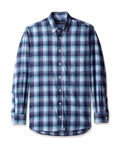 Gitman - Blue Plaid Flannel Button Down Sport Shirt