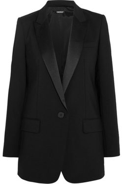 DKNY - Satin Trimmed Stretch Wool Crepe Tuxedo Blazer