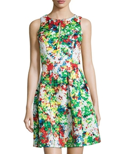 Catherine Catherine Malandrino   - Fawn Floral-Print Quilted Sleeveless Dress