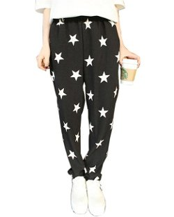 HaboZoo  - Womens Black White Star Print Baggy Harem Pants