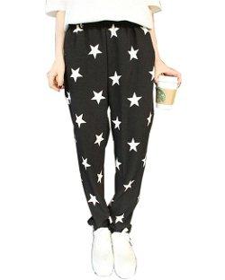 HaboZoo  - Womens Black White Star Print Baggy Harem Pants