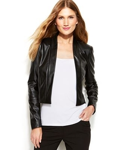 Calvin Klein - Faux-Leather Open-Front Cropped Jacket