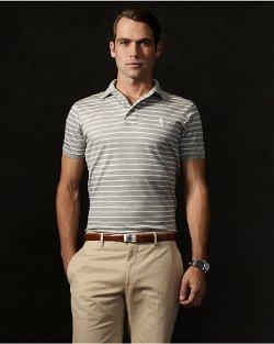 Ralph Lauren Purple Label - Striped Mesh Polo Shirt