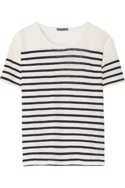Current/Elliott  - Short Sleeve Striped Linen-Jersey T-Shirt