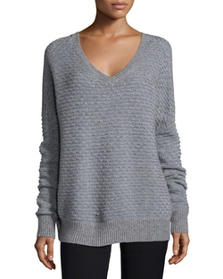 Vince  - Textured V-Neck Sweater