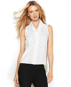 Calvin Klein  - Sleeveless Button-Front Shirt