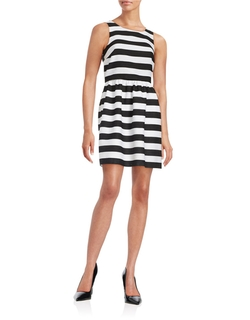 Kensie - Striped Fit-And-Flare Dress