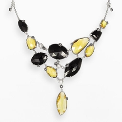 Lavish By Tjm - Quartz, Onyx & Cubic Zirconia Bib Necklace