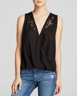 Velvet by Graham & Spencer  - Drape Front Lace Blouse