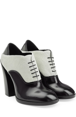 Jil Sander   - Leather And Calf Hair Ankle Boots