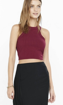Express  - One Eleven High Neck Ribbed Crop Tank