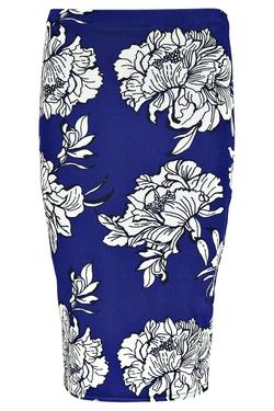 Boohoo - Betty Bold Floral Pencil Midi Skirt