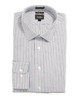 Neiman Marcus  - Trim-Fit Non-Iron Striped Dress Shirt, White/Gray