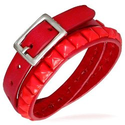 Fashion Your Way  - Red Leather Double Wrap Belt