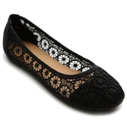 Ollio  - Floral Lace Flat Shoes