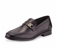 Salvatore Ferragamo - Lion Calfskin Side-Buckle Loafer Shoes