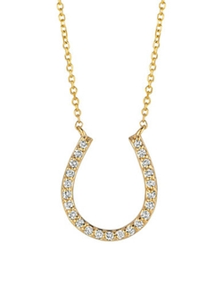 Morris & David  - Diamond And Gold Horseshoe Pendant Necklace